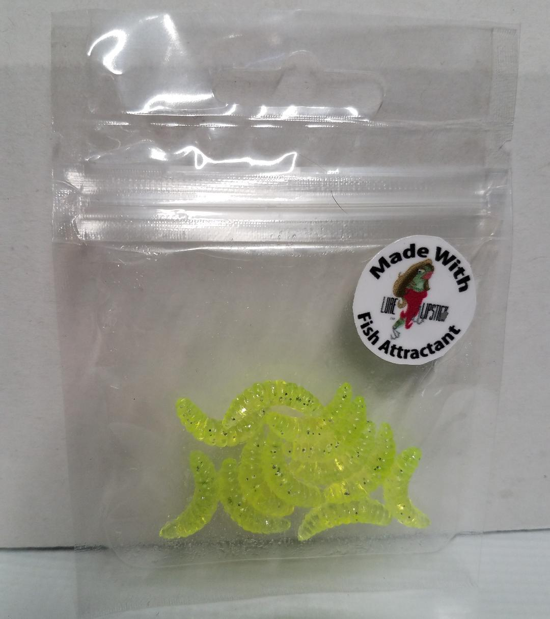 Infused Wax Worms 12 Pack Chartreuse Sparkle