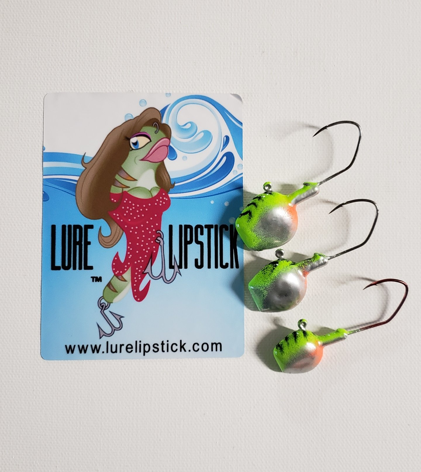 Wal-E-Gat-R Custom Jig Heads 3 Pack Sold by Lure Lipstick - Ice Perch